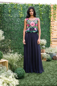 Mrunalini Rao Midnight Blue Palazzo with Peplum Top