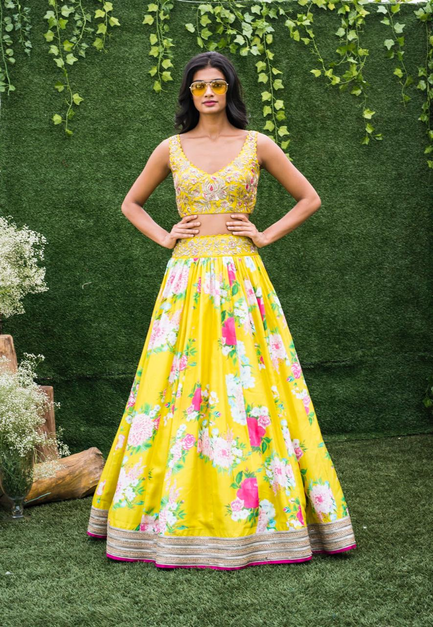 Mrunalini Rao Canary Yellow Floral with Pink Piping Lehenga
