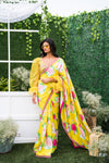 Mrunalini Rao Yellow Floral Saree