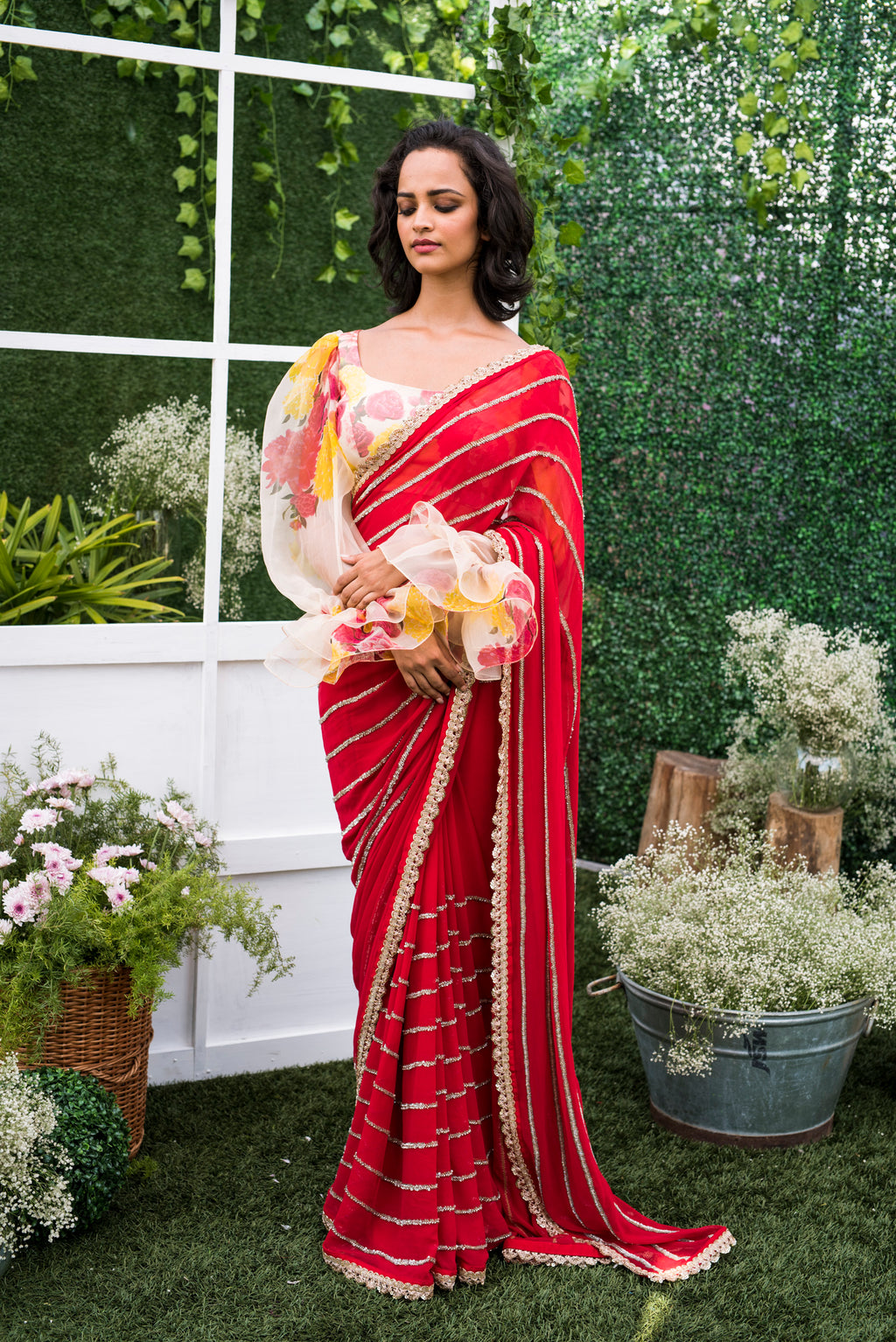 Mrunalini Rao Red Saree with Floral Blouse