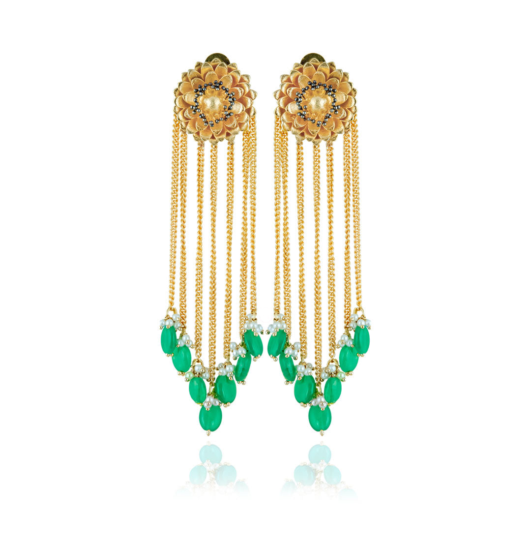Studio Hyperbole Jade Green Tassel Earrings