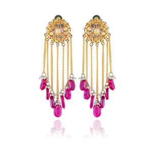 Studio Hyperbole Ruby Pink Agate Tassel Earrings