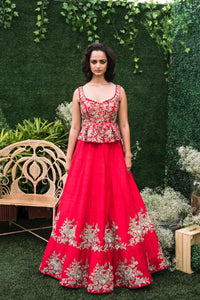 Mrunalini Rao Red Silk Lehenga with Peplum Top