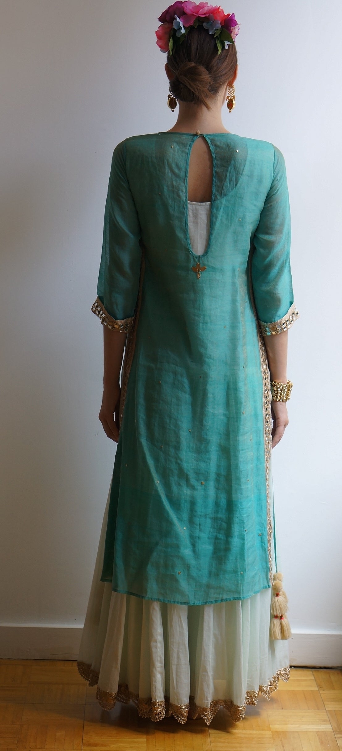 O Layla Sea Blue Kurta Lehenga Set