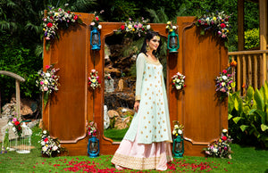 Priyanka Jain Mint Green Embroidered Kurta and Light Pink Sharara Set