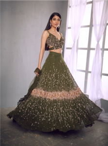 Shloka Khialani Hunter Green Lehenga Set