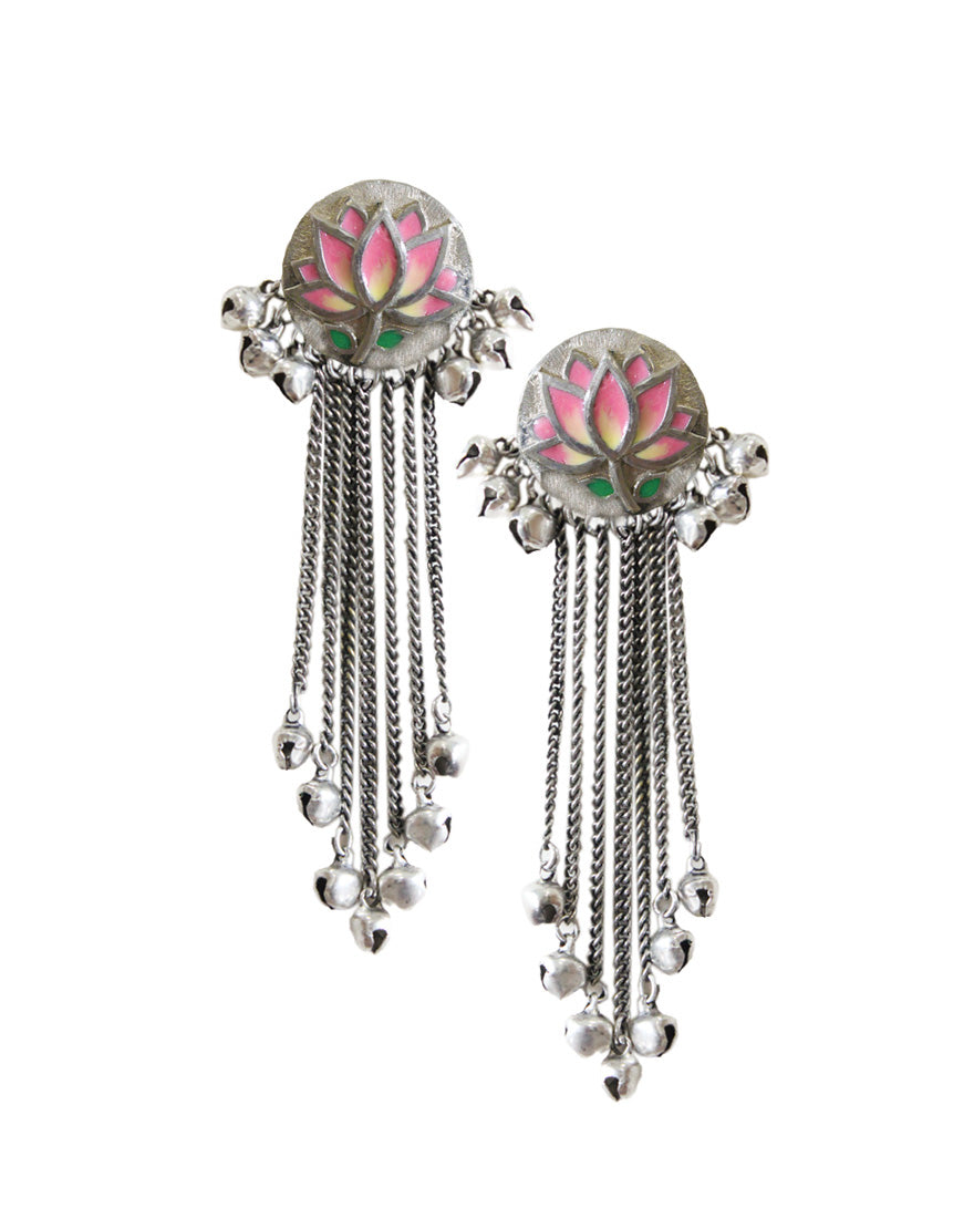 Hyperbole Pink Lotus Tassel Earrings