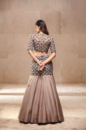 Ridhi Mehra Embellished Lotus Blouse With Skirt
