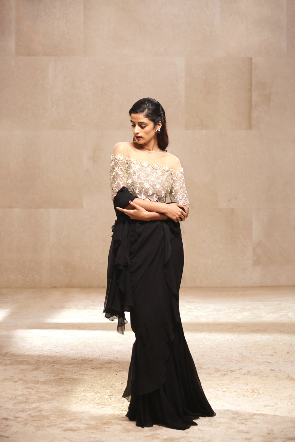 Ridhi Mehra Ruffles Saree With Champagne Gold, Embroidered Blouse