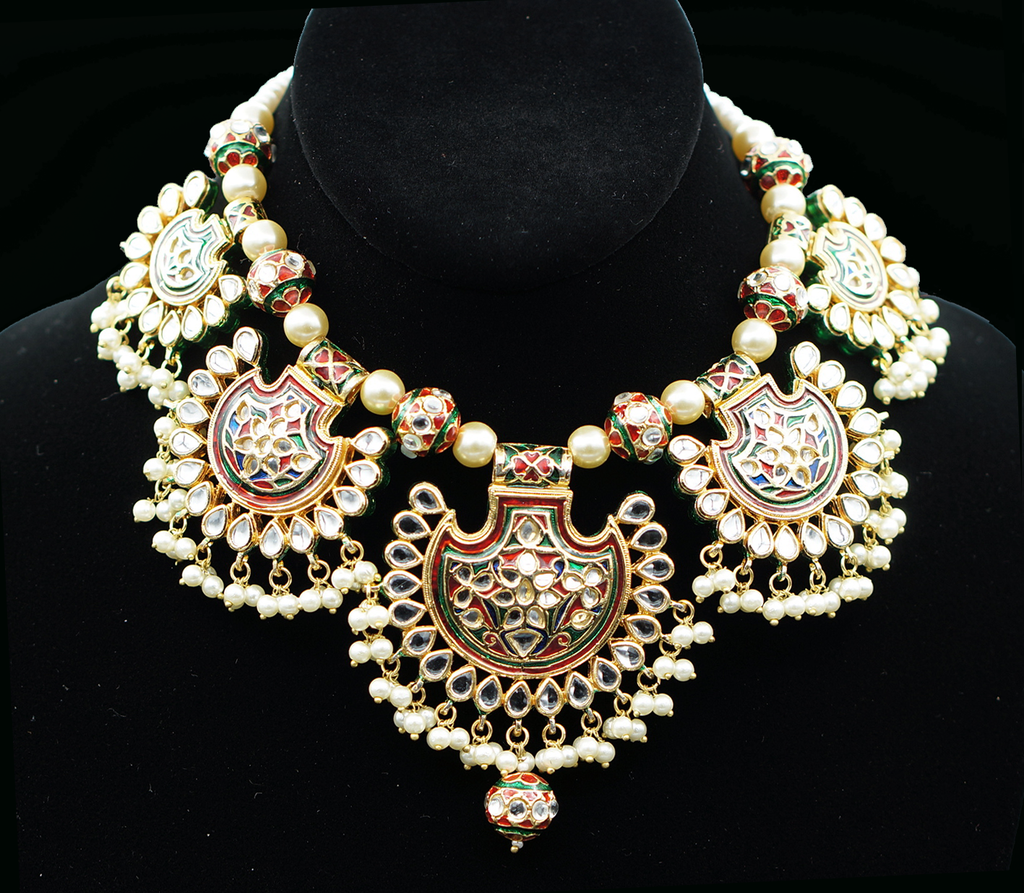 ReeMat MeenaKari Necklace Set with Mangtikka