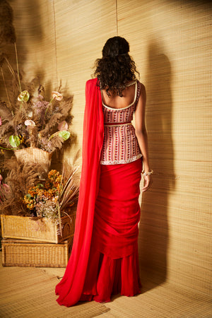 Ridhi Mehra Red Saree with Printed Blouse