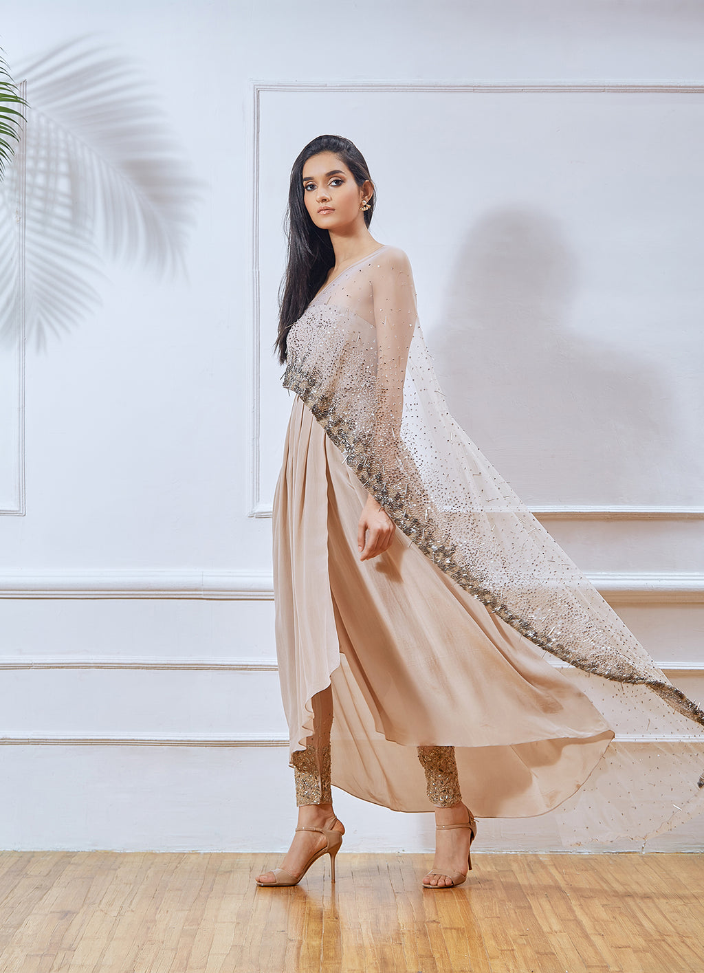 Shloka Khialani Nude Draped Kurta Set