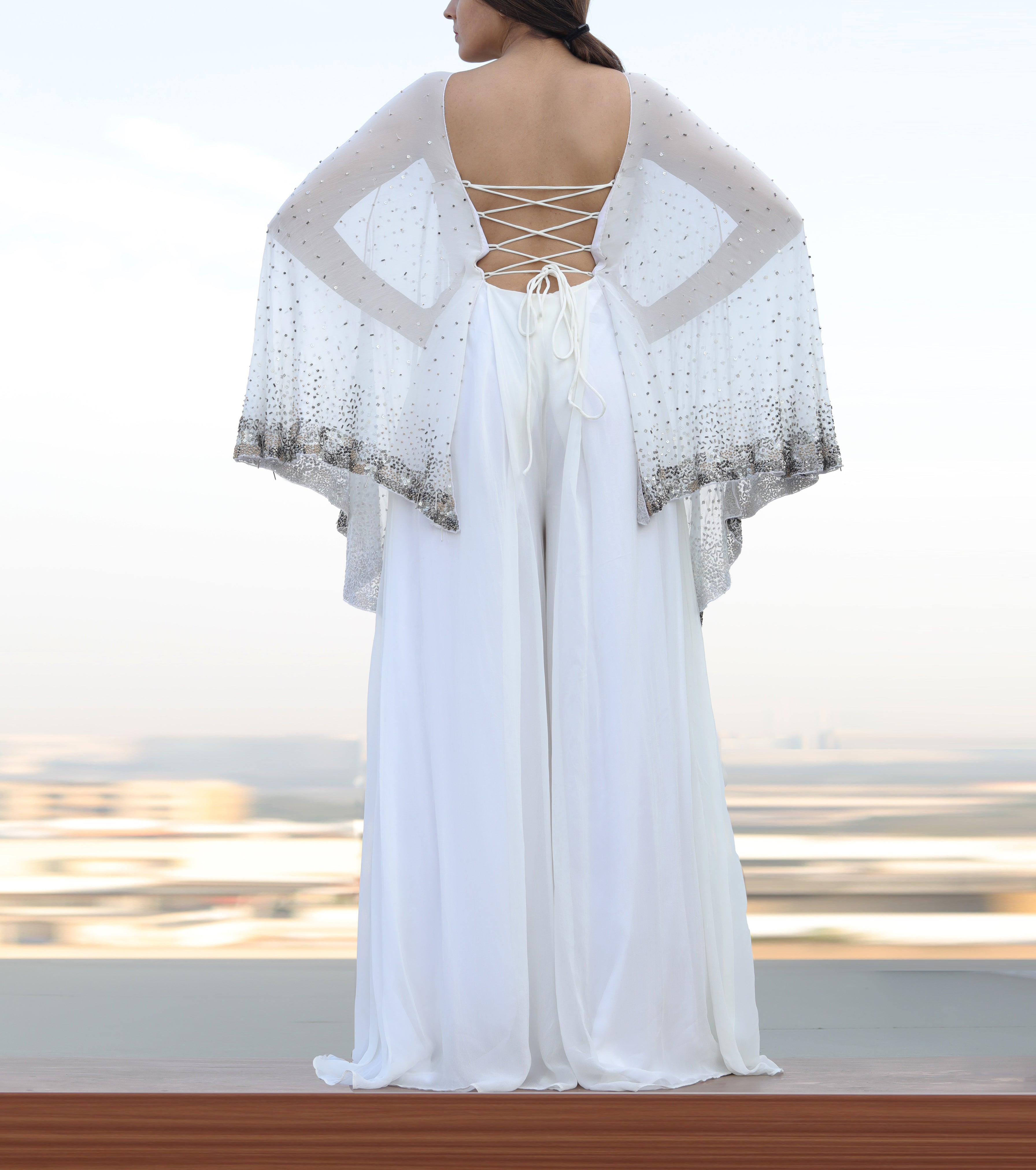 Shloka Khialani White Cape Style Jumpsuit