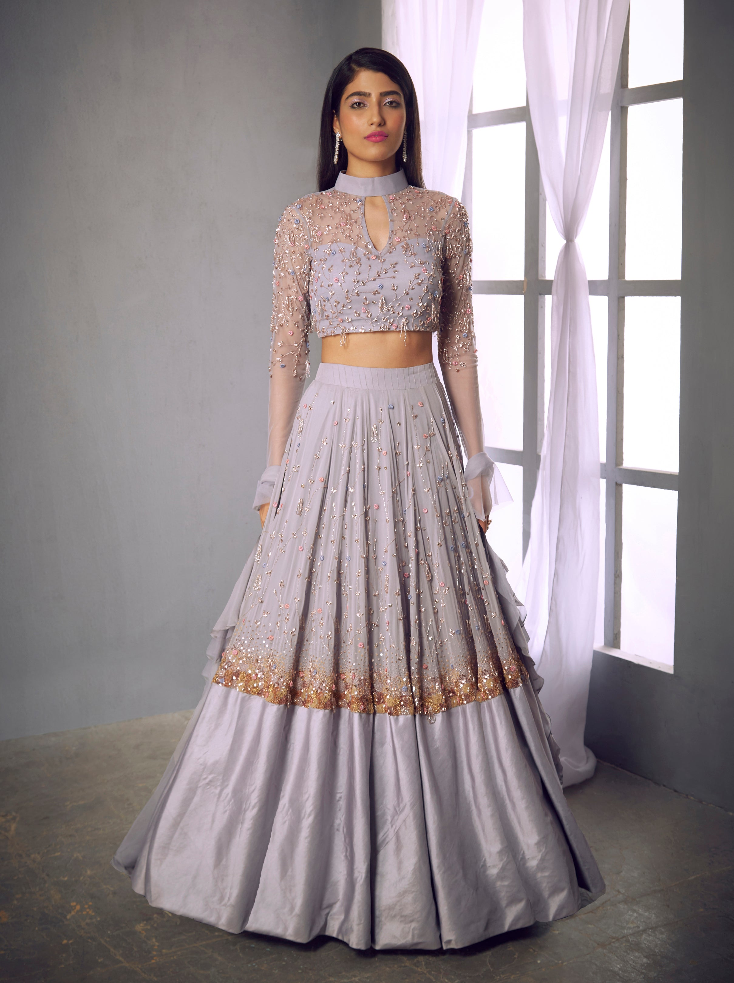 Shloka Khialani Pale Lilac Long Sleeve Top & Lehenga Set