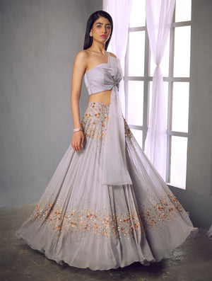 Shloka Khialani Pale Lilac Twist Bow Top & Lehenga Set