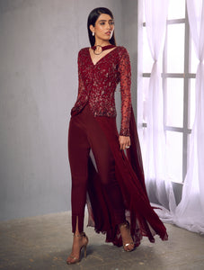 Shloka Khialani Oxblood Pant Set