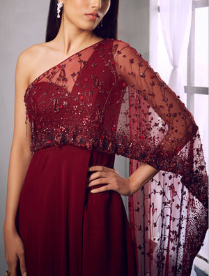Shloka Khialani Oxblood Kurta with Embellished Pants