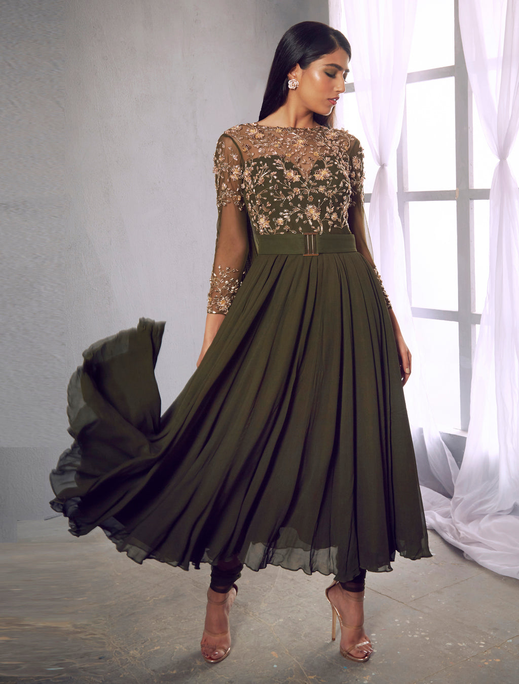 Shloka Khialani Hunter Green Anarkali