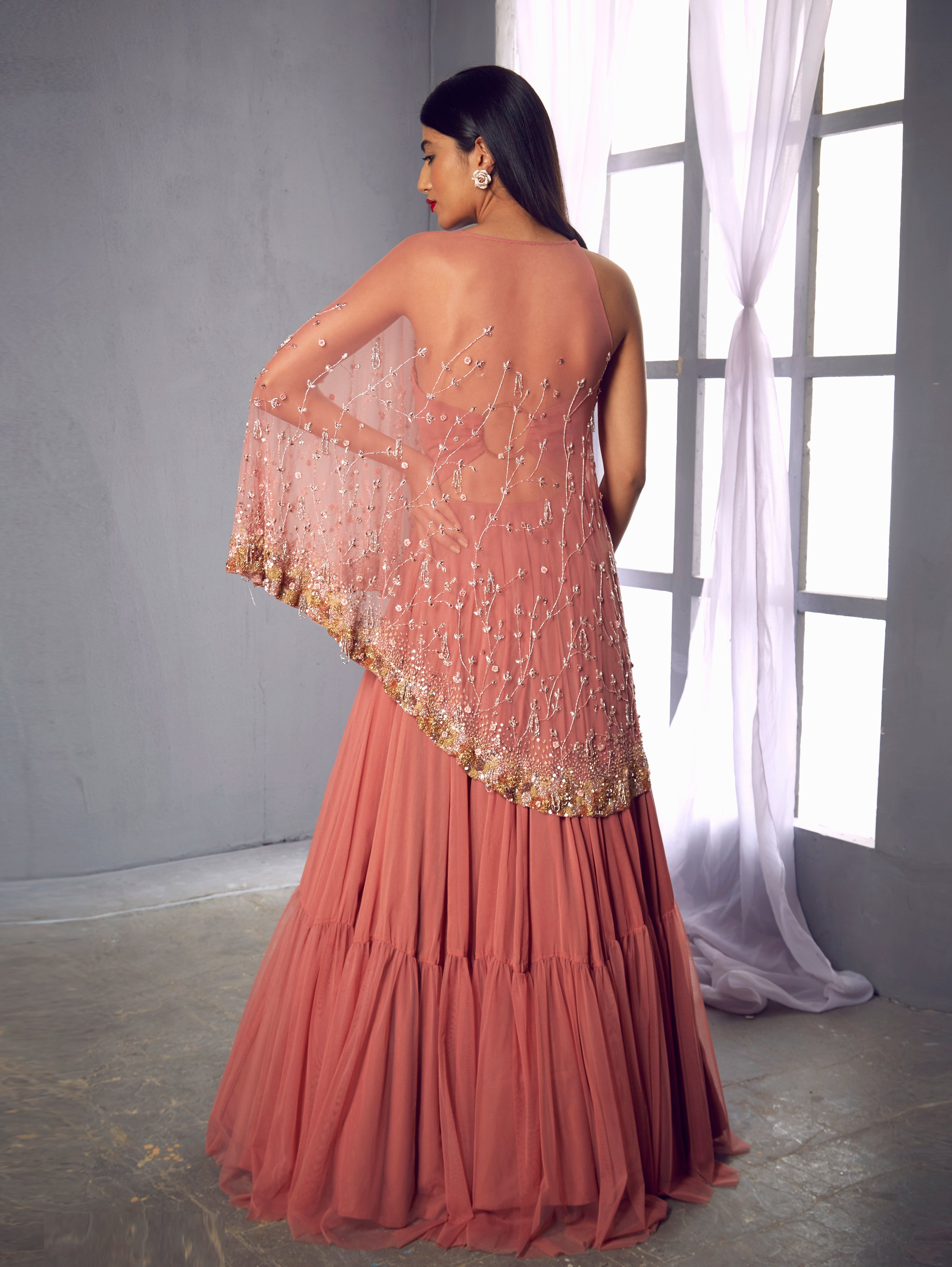 Shloka Khialani Rose Pink Cape Gown
