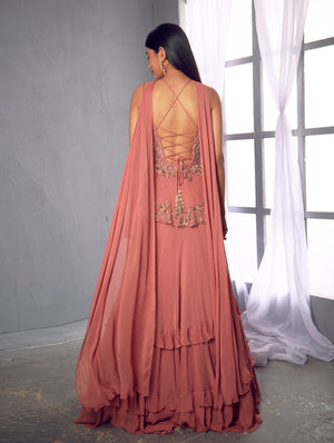 Shloka Khialani Rose Pink Peplum Top Lehenga