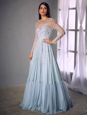 Shloka Khialani Powder Blue Anarkali