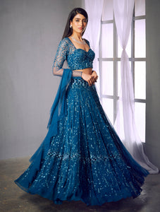 Shloka Khialani Teal Blue Embellished Lehenga Set
