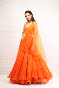 Shloka Khialani Orange Cut Out Anarkali