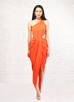 Shloka Khialani Orange One Shoulder Dress