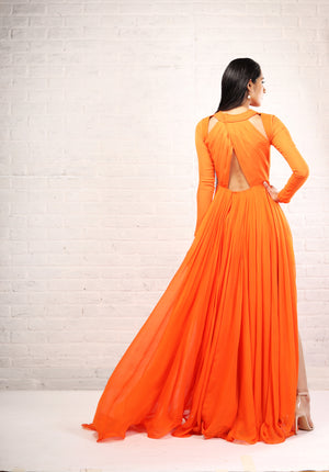 Shloka Khialani Orange Long Sleeve Cut Out Gown
