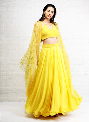 Shloka Khialani Canary Yellow Lehenga Set