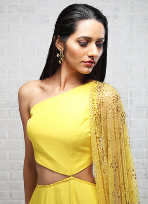 Shloka Khialani Canary Yellow Cut Out Anarkali