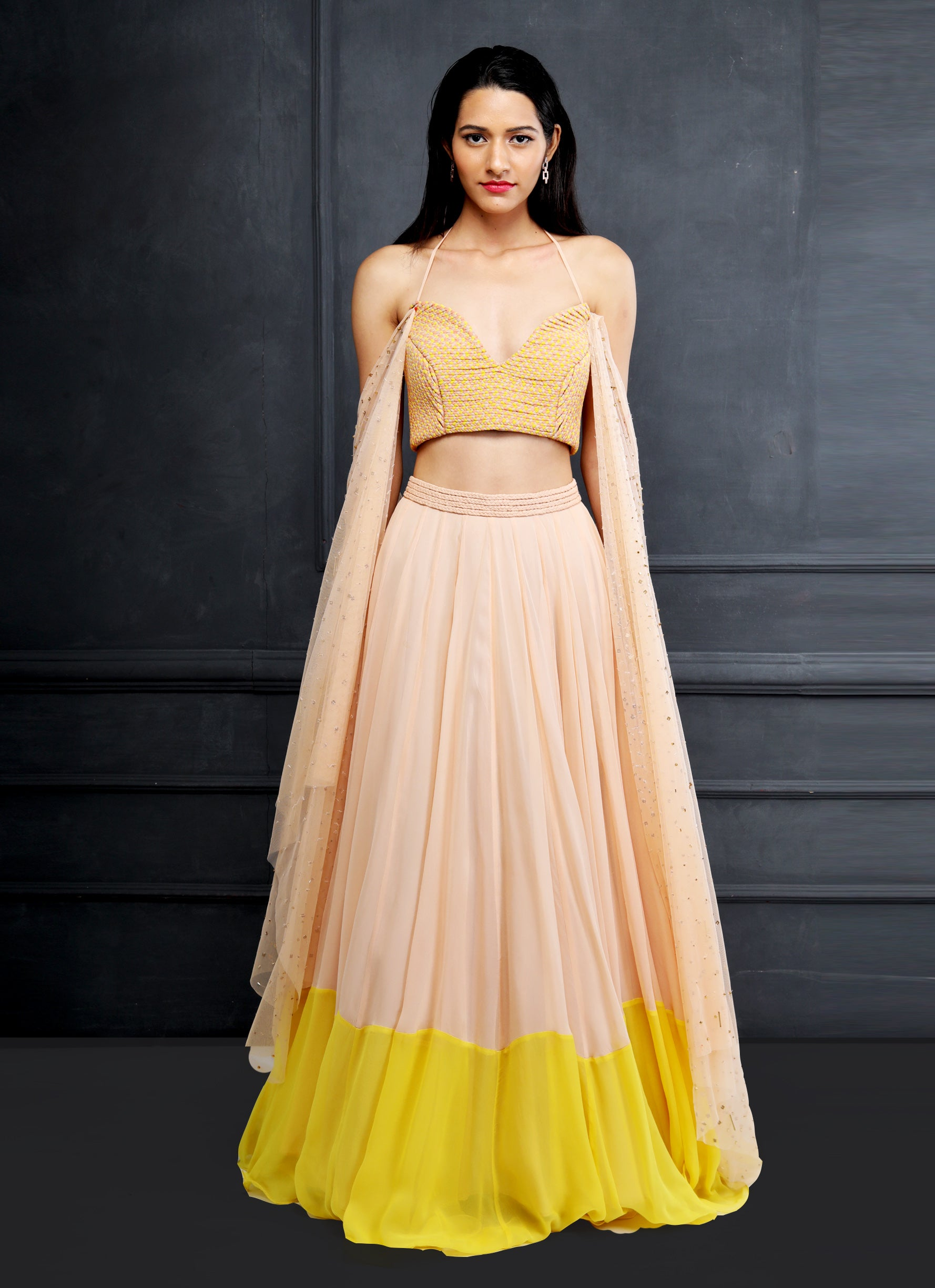 Shloka Khialani Canary Yellow & Blush Lehenga Set