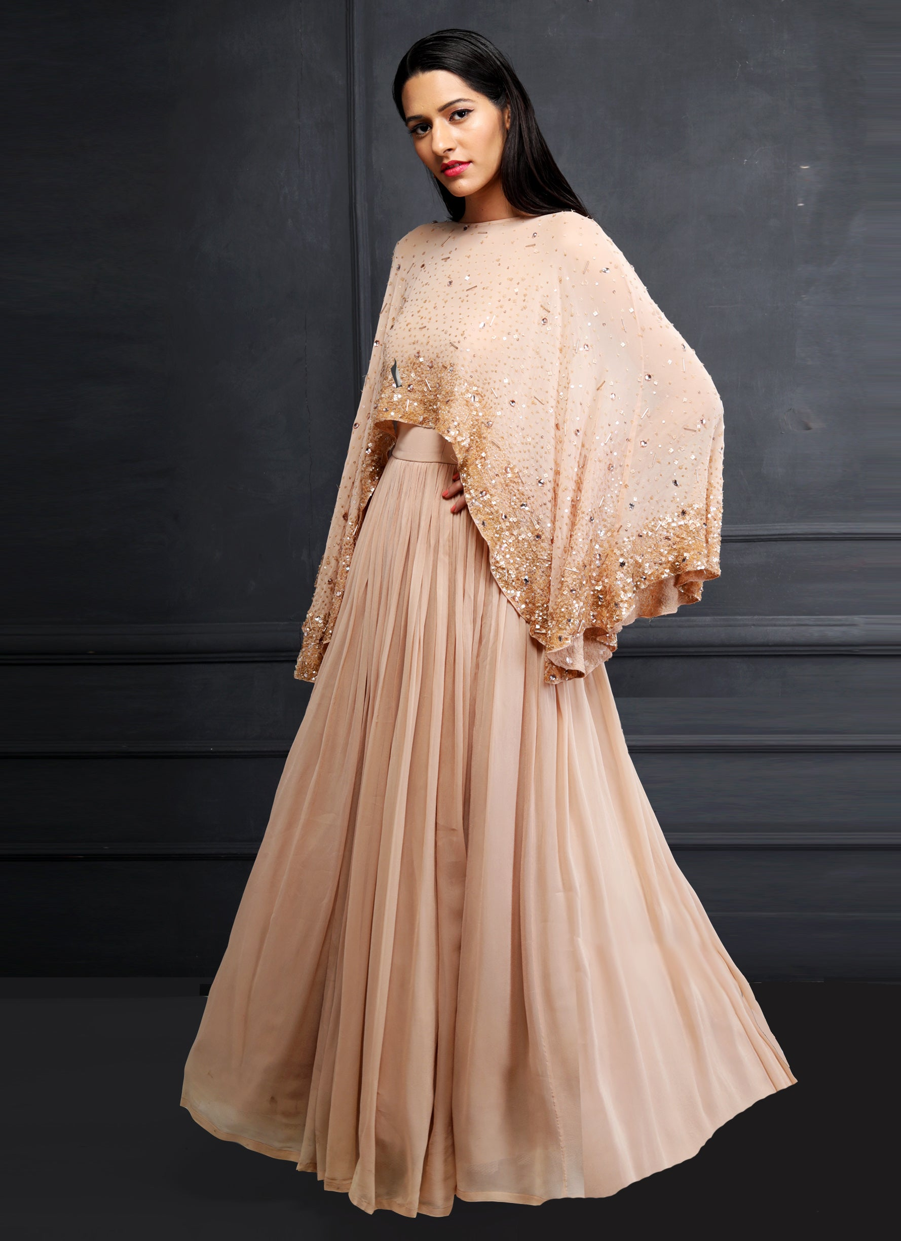 Shloka Khialani Blush Drape Anarkali