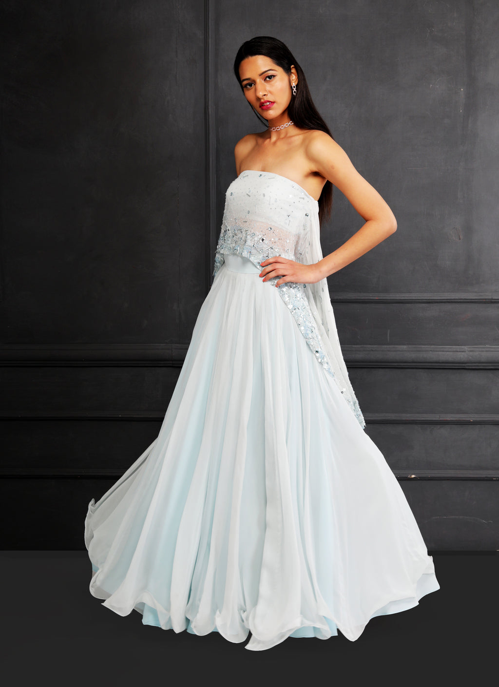 Shloka Khialani Ice Blue Lehenga Set