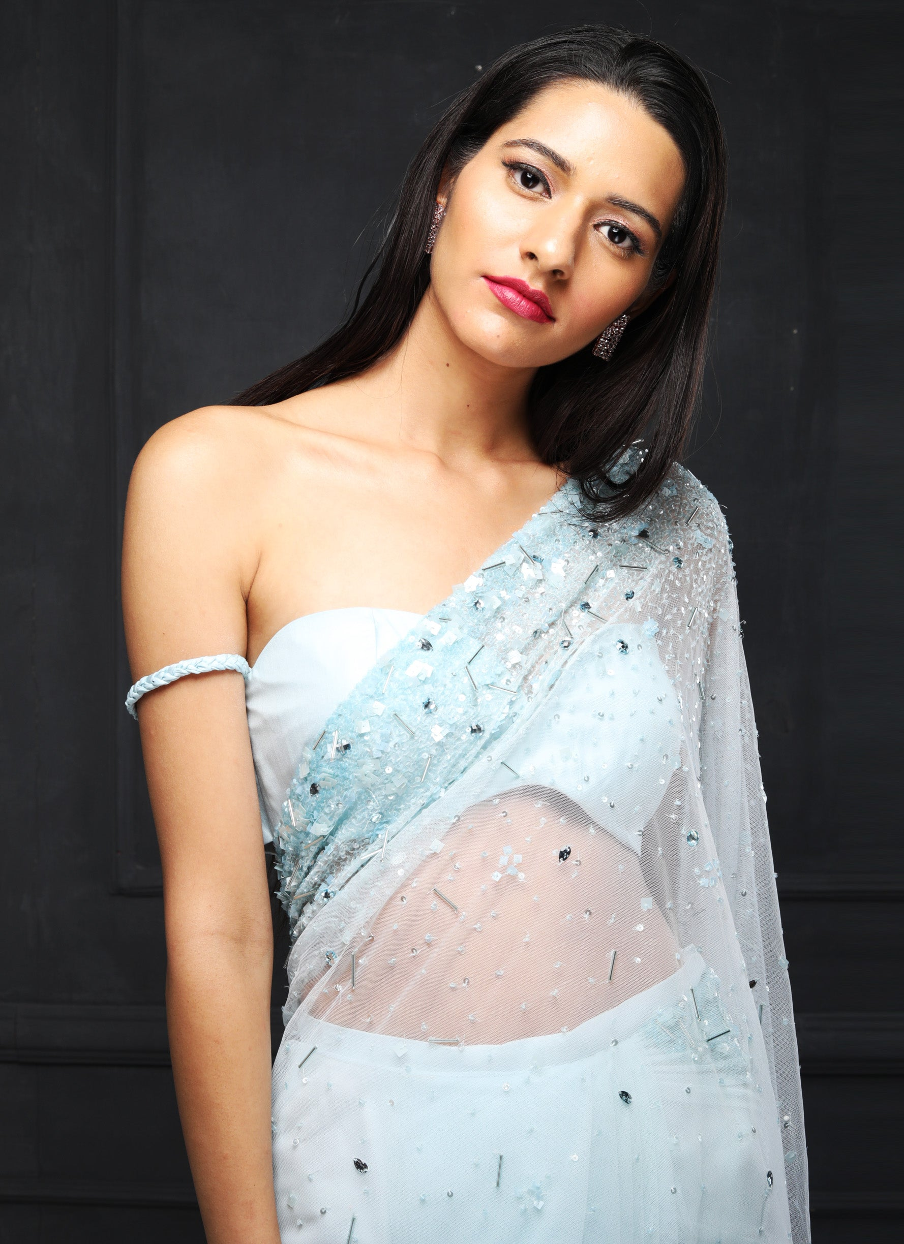 Shloka Khialani Ice Blue Saree Set