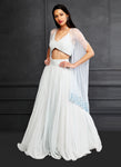 Shloka Khialani Ice Blue Cape Lehenga Set