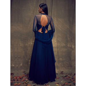 Shloka Khialani Teal Blue Long Sleeve Embellished Gown