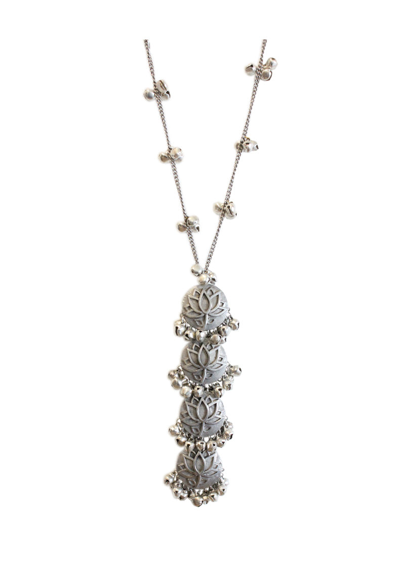 Hyperbole Silver Lotus Long Necklace