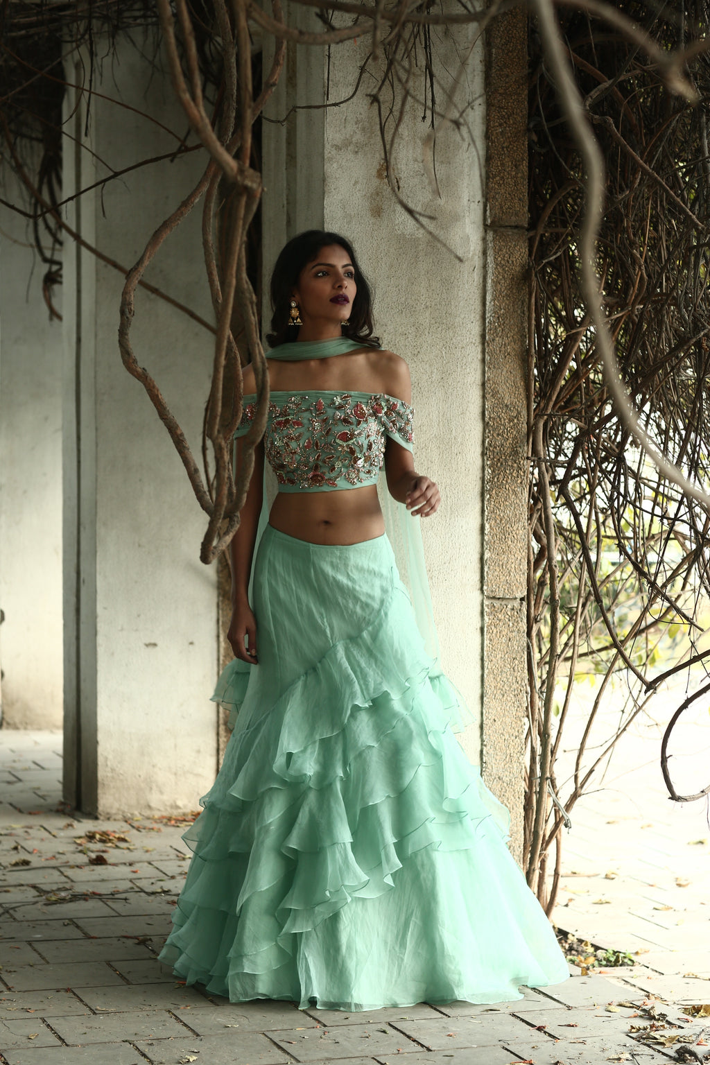 Mani Bhatia Mint Off-Shoulder Blouse with Tiered Lehenga