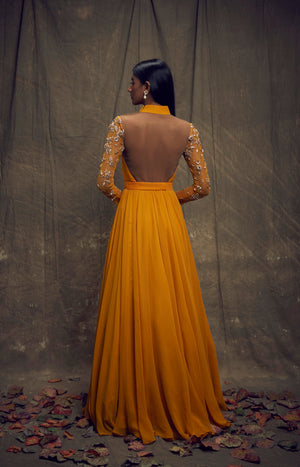 Shloka Khialani Ochre Yellow Gown