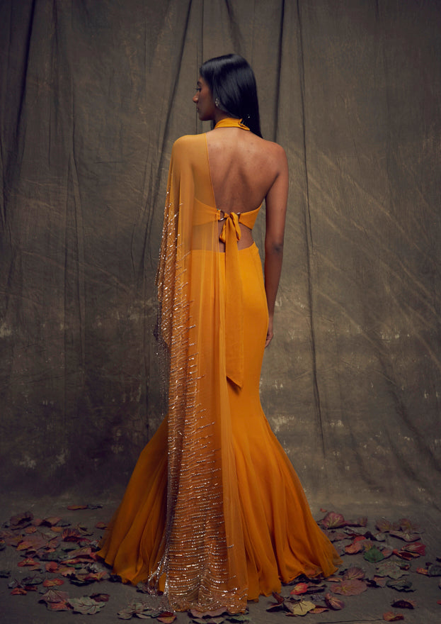 Shloka Khialani Ochre Yellow Saree Skirt Set
