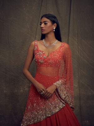 Shloka Khialani Coral Top & Skirt Set