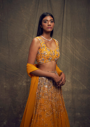 Shloka Khialani Ochre Yellow Top & Skirt Set