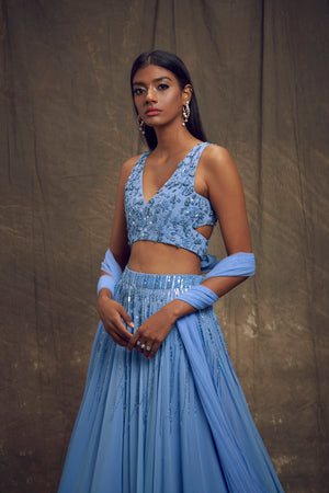 Shloka Khialani Cerulean Blue Cut-Out Top & Skirt Set