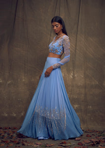 Shloka Khialani Cerulean Blue Embellished Top & Skirt Set