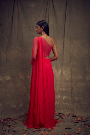 Shloka Khialani Hot Pink Cut Out Gown