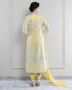 Falguni Shane Peacock Eden Buttercup Yellow Kurta Set