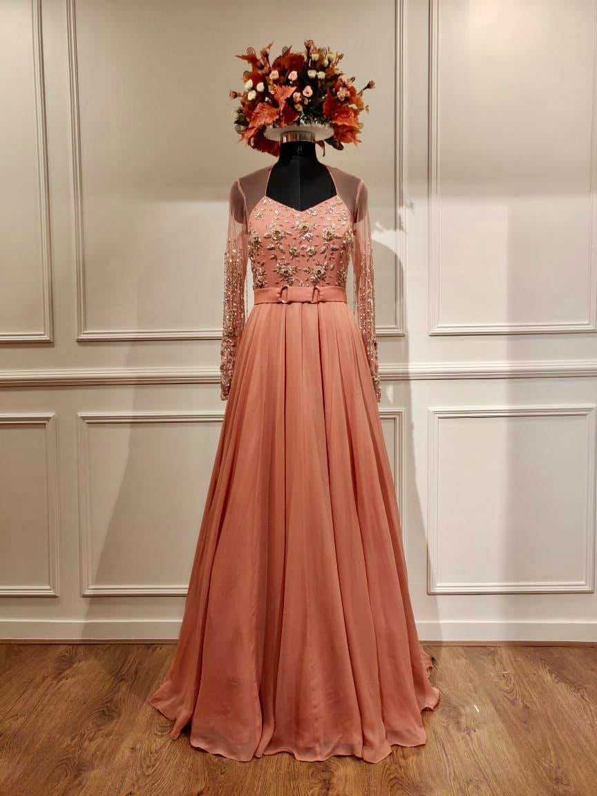 Shloka Khialani Coral Long Sleeve Embellished Gown