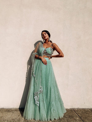 The French Darjee Sparkle Mint Lehenga