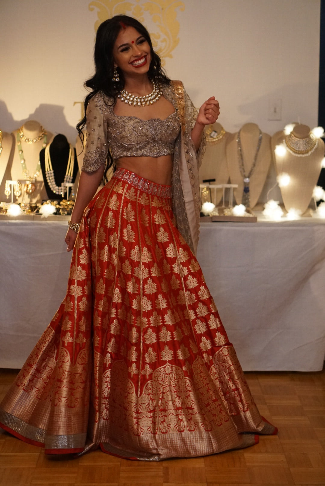 Jayanti Reddy Red Brocade Lehenga